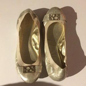 Coach slip on flats gold size 9